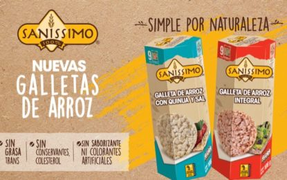 Saníssimo lanza en Costa Rica y Centroamérica sus nuevas galletas de arroz.